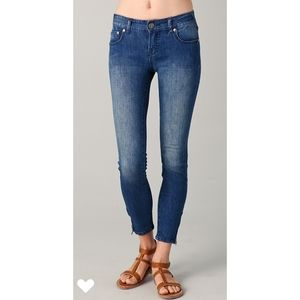 Free People | Lily Blue Zipper Ankle Skinny Jeans